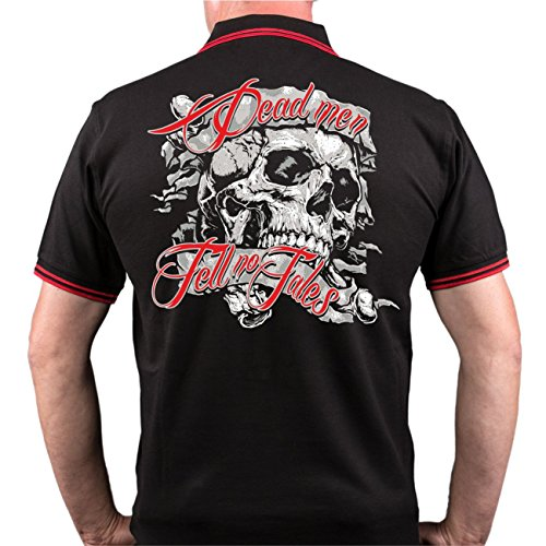 Männer und Herren POLO Shirt Dead men tell no tales (mit Rückendruck) Schwarz/Rot