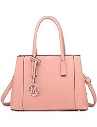 aff24295bbd3 Miss Lulu Leather Look V-Shape Shoulder Handbag Elegant Design Top Handle  Fashion Handbags for