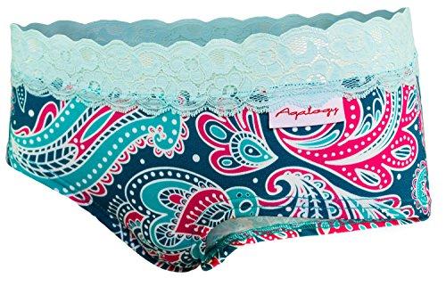 Aqalogy mutandine scrunch da donna realizzate in vero cotone premium con un tocco di spandex di alta qualità e pizzo francese tradizionale (alyia collezione intimo colori multipli)