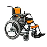 HJSS Black Scooter Fauteuil Roulant électrique Personnes âgées en Acier Chaise de Voyage Portable Pliable Ceinture de sécurité intégrée Anti-penchement Roues arrière