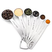 1Easylife 18/8 Stainless Steel Metal Measuring Spoons, Ergonomic Set of 6 for Dry and Liquid Ingredients, Narrow Shape Easily Fits in Spice Jars (6-Piece)
