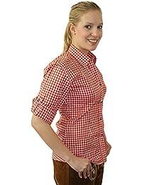 Klassisches Damen Trachtenhemd 3/4 Arm Farbe rot, hellblau oder lila Gr. 32-50