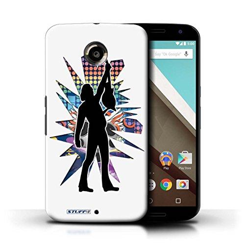 Kobalt® Imprimé Etui / Coque pour Motorola Nexus 6 / Elvis Noir conception / Série Rock Star Pose Atteindre Blanc