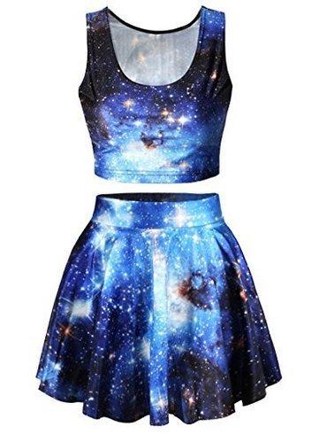 Zqmd Frauen Bling-Galaxy Universe Printing Kleid Mädchen Cute- Vintage Digital gefaltet Flared Tank Top und Röcke Set (Rock Vintage Galaxy)