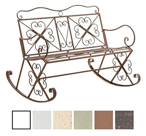 CLP Garten-Bank, 2er Schaukelstuhl SILLY, Eisen lackiert, Design nostalgisch antik, ca 120 x 45, Höhe 95 cm Antik Braun