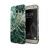 BURGA Hülle Kompatibel mit Samsung Galaxy S6 Edge Handy Huelle Grün Smaragd Juwel Marmor Muster Green Marble Dünn, Robuste Rückschale aus Kunststoff Handyhülle Schutz Case Cover