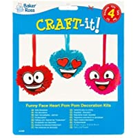 BR BR18-AC596 Funny Face Heart Pom Pom Kits for Children to Make and Decorate - Creative Valentines Day Craft Set for Kids (Pack of 4)
