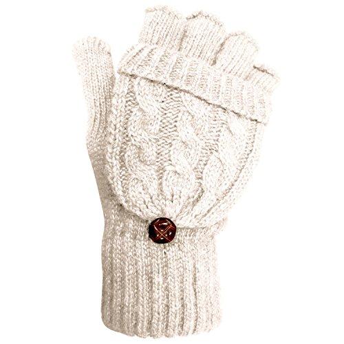TOSKATOK® Damen Womens Kabel Strick weiche Winter Wolle fingerless Handschuhe