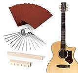 GiBot - Kit di manutenzione e liuteria per chitarra, ukulele, basso, chitarra elettrica, con selletta del ponte in osso, capotasto, carta abrasiva e set di 13 lime in acciaio inox