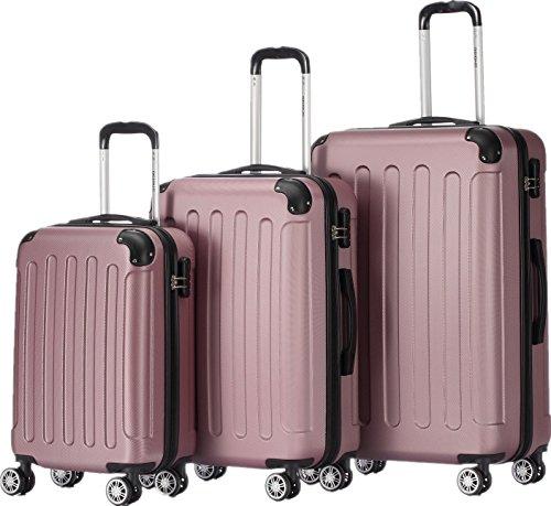 2045 Hartschale Koffer Kofferset Trolley Reisekoffer Größe XL-L-M in 12 Farben (Pink, Set)