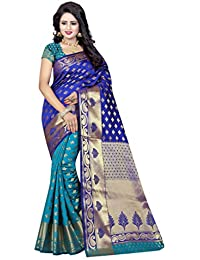 Nirja Creation Women's Cotton Silk Embroidered Saree with Unstitched Blouse Piece - NC-FR-703_Blue_Free Size