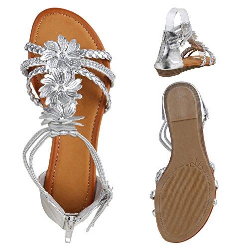 Bequeme Damen Keilsandaletten Strass Sandaletten Keilabsatz Silber Flechtung Blumen