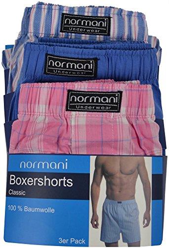 3 x Herren Web Boxershorts aus reiner Baumwolle Blau/Pink