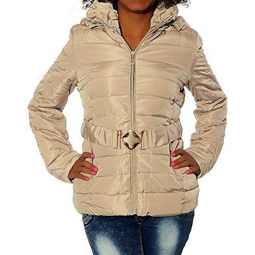 G664 Damen Winter Jacke Mantel Steppjacke Parka Jacket Daunen Look Winterjacke Beige