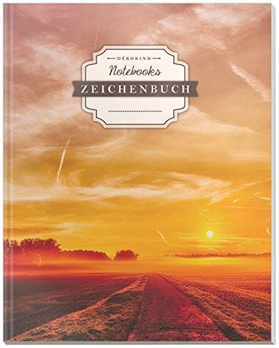 DÉKOKIND Zeichenbuch | DIN A4, 122 Seiten, Register, Vintage Softcover | Dickes Blanko-Notizbuch zum Selbstgestalten | Motiv: Sunset