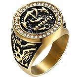 Sumouzh Herren Retro Juwel Diamant Adler Haken Anker Gold Rostfreier Stahl Ringe,Größe 54 (17.2)