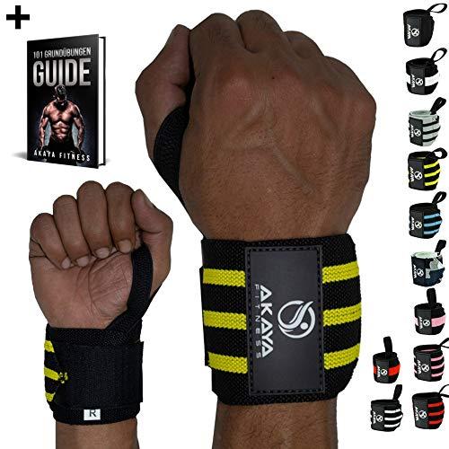 AKAYA Handgelenk Bandagen + Gratis eBook & Anleitung | Wrist Wraps 45 cm Länge | Handgelenkbandage für Fitness, Kraftsport, Bodybuilding & Crossfit - für Frauen und Männer geeignet | Schwarz/Gelb