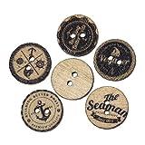Souarts 200 Gemischte Holzknopf zwei Löcher Holz Knöpfe Kleidung Deko DIY Basteln Nähen