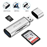 Jelly Comb USB A 3.0 Adapter mit Kartenleser, 3 in 1 OTG Kartenlesegerät mit USB A Micro USB und USB A Weiblich für SD Micro SD SDXC SDHC TF Speicherkarte