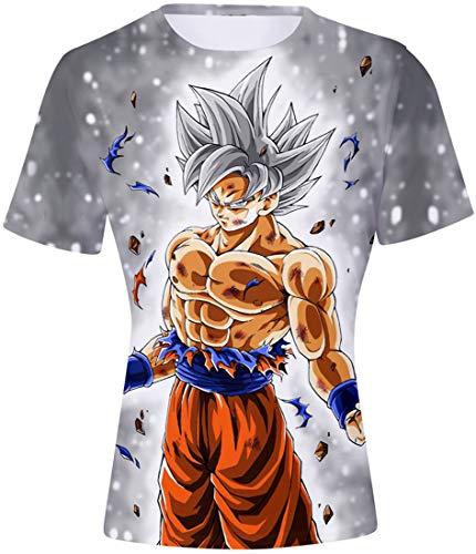 FLYCHEN T-Shirt Colorful Impreso en 3D Dragon Ball para Hombre Super Saiyan Cosplay Wu Camiseta Goku - Sombreros de Plata - XL