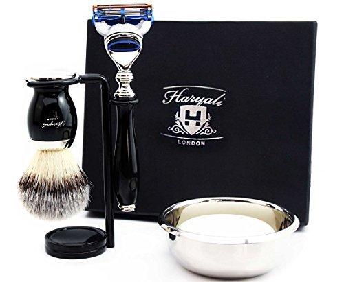 Best Rasierset Geschenk für Männer (Gillette Fusion Razor, Pinsel, Schüssel, Ständer) Marken-Box - 3-piece Shave Set