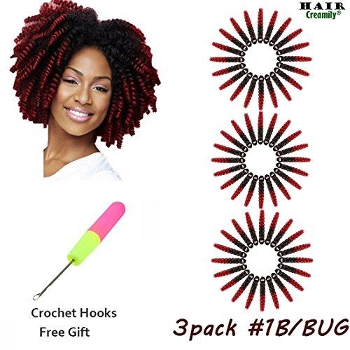 Creamily Lot de 3 bouclés tressage Curl Afro Extensions de cheveux synthétiques court bouclés Twist Crochet tresses pour Black Woman Cadeau Gratuit Crochets (10inch6 mm # 1b/30 30 g)