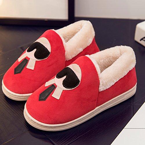 DogHaccd pantofole,Scarpe di cotone di donne caldo inverno soggiorno scarpe carine le coppie pacchetto radice pantofole di cotone felpato scarpe pantofole Donne Uomini Rosso di grandi dimensioni4