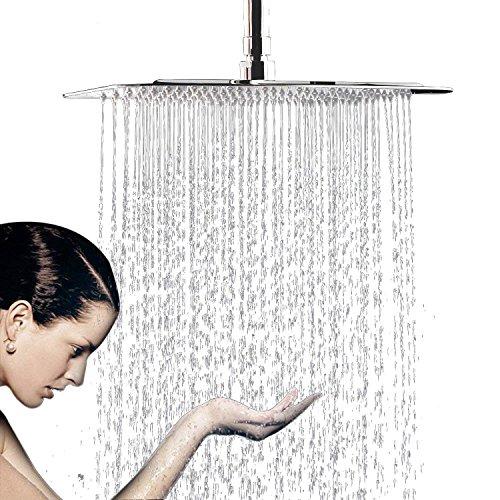 Soffione Doccia a Pioggia da Parete / Ultrathin, ACCIAIO INOX Cromato Lucido Ugelli Anticalcare /ANTI-LIMESCALE, Docce Fisse a Risparmio Quadrato 10 Pollice