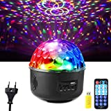 Disco Ball Lichtprojektor, DJ Ball Lichter Sound Aktiviert Multi Muster Disco Ball Strobe Light Lautsprecher mit Fernbedienung und USB Flash Drive für Party Bar Karaoke Weihnachten Hochzeit Show Club