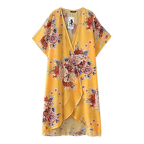 JMETRIC_Strandbluse 8612 Damen Bikini Blouse Kimono Florale Tops Cardigan Chiffon Shawl Cover Up Leichte Jacke Oberteil (Gelb,3XL)