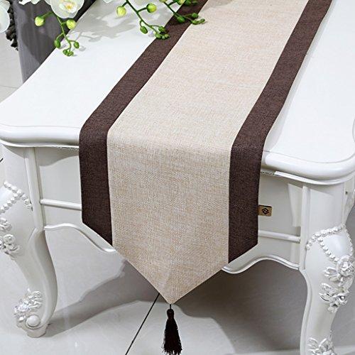 ERRU-Drapeau de table Table Runner Lit Runner Table Basse Tissu Classique Brodé Lin Style Minimaliste Table Tapis Nappes (Couleur : Jaune clair, taille : 33 * 230cm)