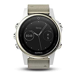 Garmin Fenix 5S - Reloj multideporte, con GPS y medidor de frecuencia cardiaca, lente de cristal y bisel de acero inoxidable, 42 mm, Blanco