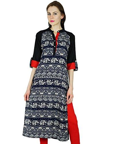 Bimba Frauen Rayon Kurta Kurz Kurti mit 3/4 Arm Schwarz Top indischen Formal Ethnische Bluse Multicolor