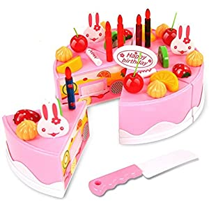 Toyshine DIY Fruit Birthday Cake Pretend Play Kitchen Toy (Assorted Color, 37 Pieces)
