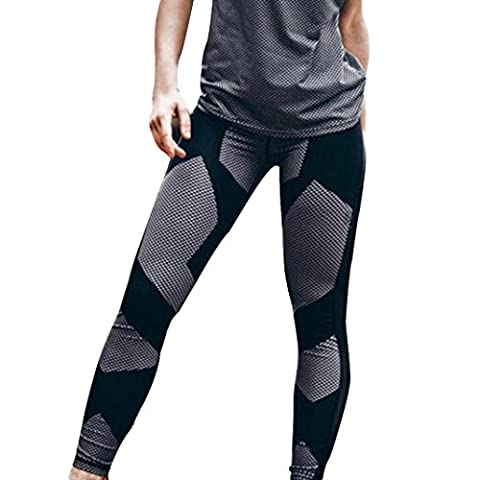 Jamicy Sexy Women Printted Sports Gym Skinny Fitness Stretchy Yoga Leggings Pants (M, Black)