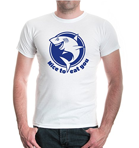 buXsbaum® T-Shirt Nice to eat you White-Royal