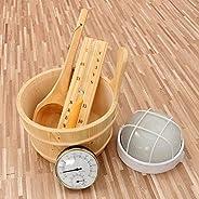 monstera 5PCS sauna set, sauna set bucket spoon hourglass thermometer lamp, bathroom steam room sauna accessories sauna kit-