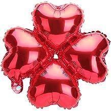 """TRIXES Paquete de 5 Globos Metálicos Pequeños 18"""" Forma Corazónes en Rojo para Decoración Celebración Fiesta de Cumpleaños"""