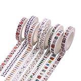 #7: Hexawata Colored Adhesive Masking Tape Roll Multi Patterns Fine Washi Decor Craft Scrapbooking Sticky Tape 8 Rolls