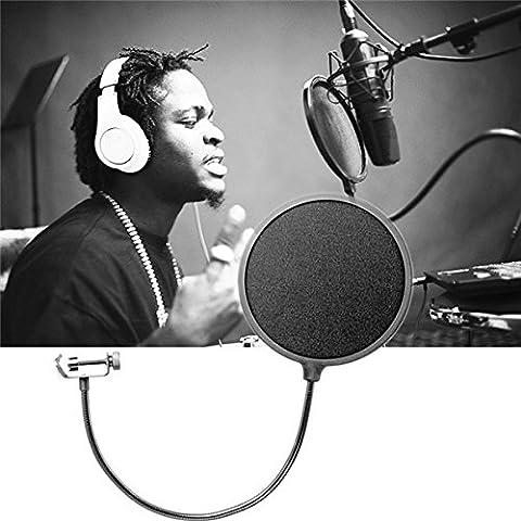 Double Layer Studio Microfono Vento schermo Maschera a collo di cigno Shield Pop Filter