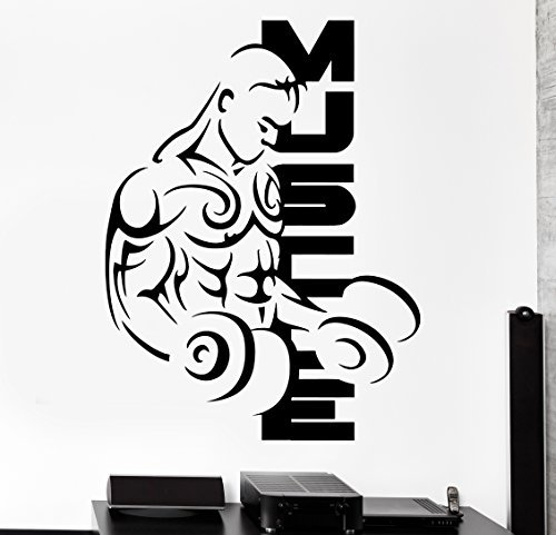 Wall Sticker Sport Muscle Bodybuilding Dumbell Barbell Vinyl Decal (z2988) by Wallstickers4you