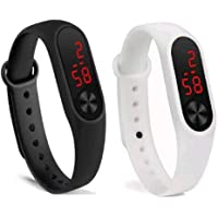 RPS FASHION WITH DEVICE OF R Silicone LED Digital White & Black Unisex Watch Set of 2