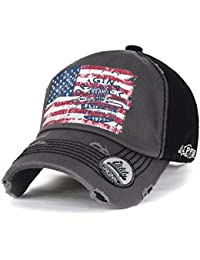ililily USA Flag Two-tone Vintage Distressed Stitched Baseball Cap Trucker Hat