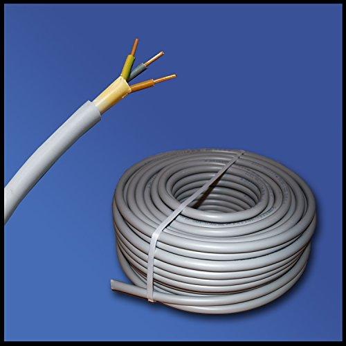 Installationskabel NYM-J 3x1,5 mm² - Kunststoff Installationsleitung - 50m / 50 m / 50 meter -PVC - grau