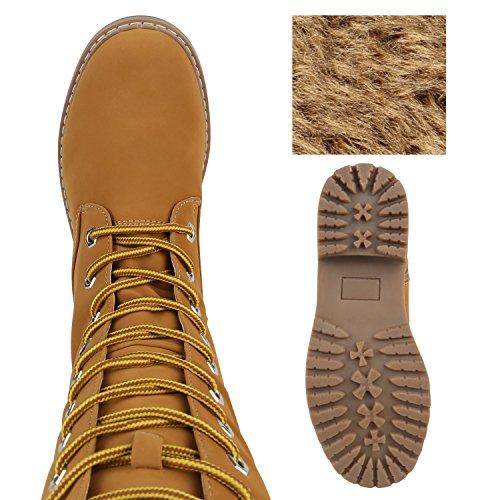 Stiefelparadies Damen Worker Boots Profilsohle Schnürstiefel Karneval Stiefel Fasching Kostüm US Army Soldat Military Boots Flandell Hellbraun Braun