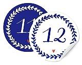 Calendrier de l'Avent 24chiffres pour les selbstgemachten Calendrier de l'Avent, bricoler, étiquettes autocollantes Mat, 24chiffres pour écrire, nummerieren Blanc 40mm Bleu Mix Archet, look Delft