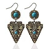 ZRDMN pendientes de botón colgantes joyas de oreja para mujer Moda europea y americana Bohemia viento nacional triángulo girasol turquesa Joyas de oro Pendientes