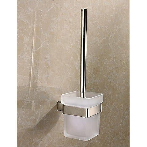 XMQC*Lavabo de vidrio Copa Cepillo montado en pared de acero inoxidable pulido Square wc Portacepillos Set