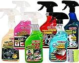Ma-Fra Kit detergente per Trattamento Auto Interno ed Esterno. 3IN1 PLASTICA-LAST TOUCH-HP 12 - CERCHI & GOMME - GLASS CLEANER - Trattamento TESSUTTI 3IN1 più Due Panni Microfibra Multiuso 38X33CM