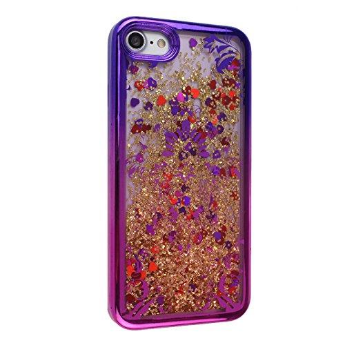 Hülle iPhone 7 Treibsand Schale 4.7 Zoll, iPhone 7 Slimcase, Moon mood® Color Gradient Überzug Plating Case für Apple iPhone 7 Durchsichtige Handyhülle 3D Creative Case Mode Bunten Transparente Krista T Blumen Rebe